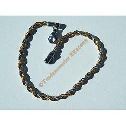 Bracelet Fashion 21 cm Duo Or Argenté Pur Acier Inoxydable Triple Maille Wire Torsadé 3 mm
