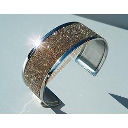 Bracelet Jonc 26 mm Ouvert Ajustable Pur Acier Inoxydable Duo Argenté Pailleté Or