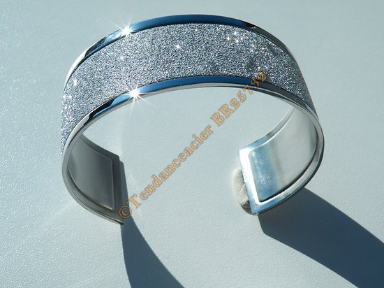 Bracelet Jonc 26 mm Ouvert Ajustable Pur Acier Inoxydable Duo Argenté Brillant Pailleté