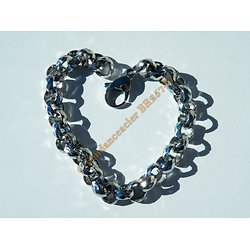 Bracelet Fashion 21 cm Argenté Pur Acier Inoxydable Maille Jaseron 9 mm Multi Facettes