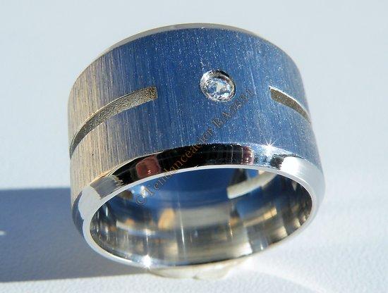 Bague Acier Inoxydable Large 15 mm 2 Découpes 1 Diamant Strass Argenté Love