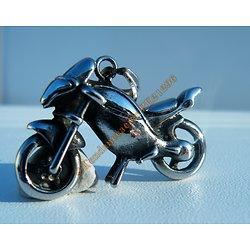 Pendentif Argenté Pur acier Inoxydable Moto Motard Biker Cross + Chaine Cadeau