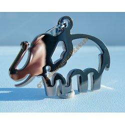 Pendentif Argenté Pur acier Inoxydable Elephant Découpé  Chance + Chaine Gratuite