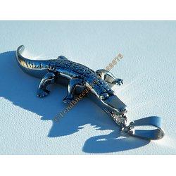 Pendentif Argenté Pur acier Inoxydable Crocodile Caiman Aligator 3D + Chaine TOP