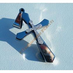 Pendentif Croix Double Jésus Religion Argenté Pailleté Pur Acier Inoxydable