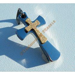 Pendentif Croix Double Jésus Religion Argenté Pailleté Doré Pur acier Inoxydable