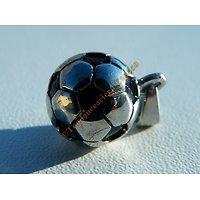 Pendentif Argenté et Noir Ballon de Football Pur acier Inoxydable + Chaine cadeau