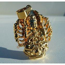 Pendentif Médaille Pur Acier Inoxydable Plaqué Or Déesse krishna Shiva Inde Hinde