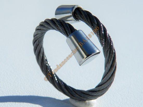 Bague 2,5 mm Ajustable Etirable Barbelé Tréssé Wire Noir Bord Argent Acier Inoxydable