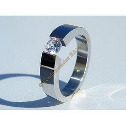 Bagues Alliance Fiançailles Ovale Argenté Pur Acier Inoxydable Sertie Diamant Strass 4 mm