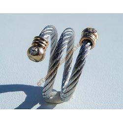 Bague Ajustable Barbelé Wire Argenté et Or Pur Acier Inoxydable 3 Rangs 2 Strass Zirconia