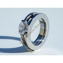 Bagues 2 Alliances Couple Double Dissociable Amour Argenté Pur Acier Inoxydable Sertie Diamant Strass Mariage Fiançailles