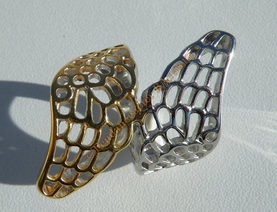 Bague Chevaliere Duo Ailes Ange Papillon Découpé Argenté Or Pur Acier Inoxydable 30 mm