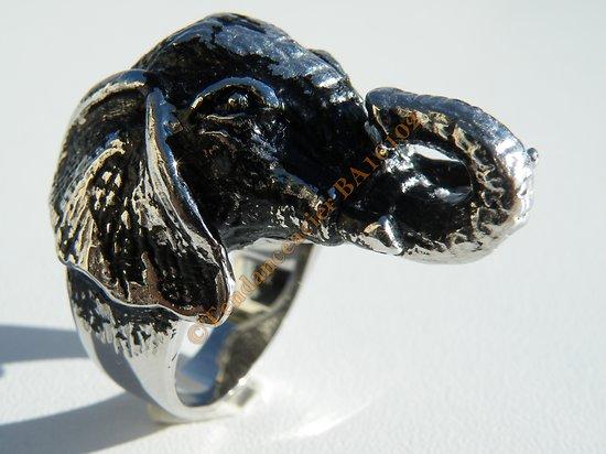 Bague Acier Inoxydable Tete Elephant 3 Dimensions 36 mm Inde Porte Bonheur Trompe en L'Air Argenté