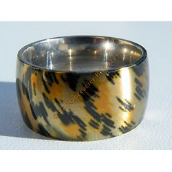 Bague Chevaliere 12 mm Pur Acier Inoxydable Jaune Noir Jungle Leopard Fashion