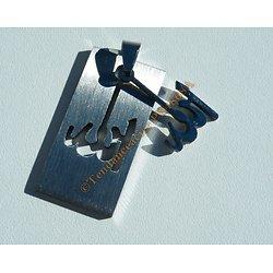 Pendentif Découpé Rectangulaire Pur Acier Inoxydable Argenté ALLAH Religion + Chaine Offerte