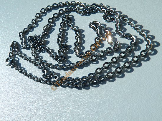 Chaine Longue Argenté 76 cm Pur Acier Inoxydable Maille Forçat Jaseron 3 mm