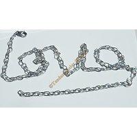 Chaine Longue Argenté 76 cm Pur Acier Inoxydable Maille Forçat 4 mm