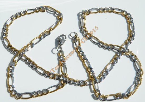 Chaine Collier 61 cm Pur Acier Inoxydable Bicolore Argenté Et Doré Or Maille Figaro 1+3 5 mm