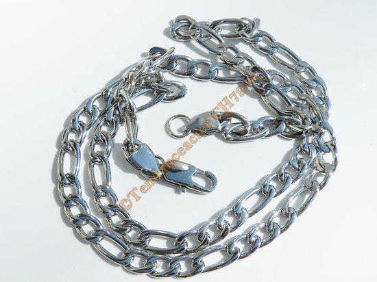 Chaine Collier Argenté 56 cm Pur Acier Inoxydable Maille Figaro 1+3 Largeur 6 mm