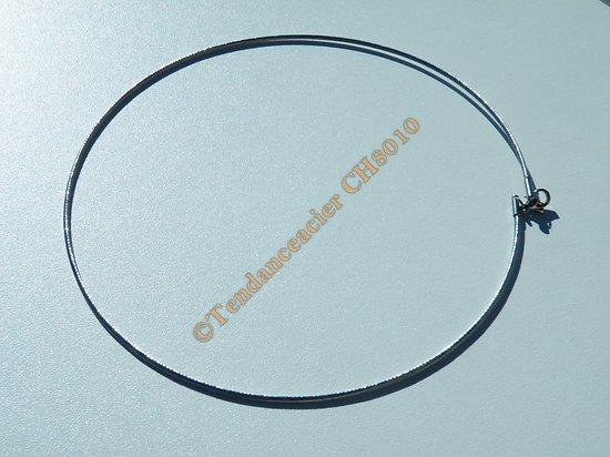 Collier Sautoir Ras de cou Argenté 45 cm Acier Inoxydable Maille Enroulé Wire 1,5 mm