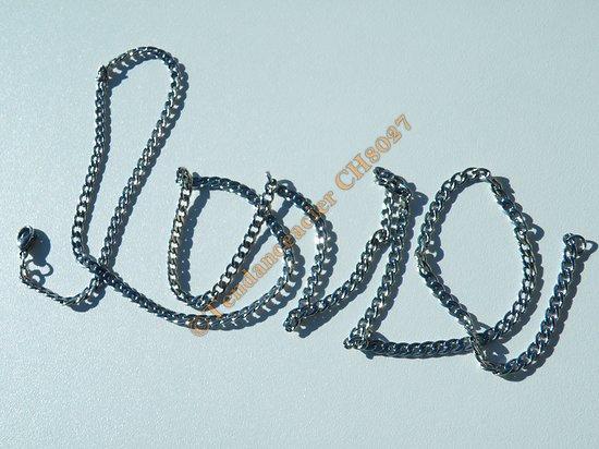 Collier Chaine Longue Argenté 81 cm Pur Acier Inoxydable Maille Gourmette 3,5 mm