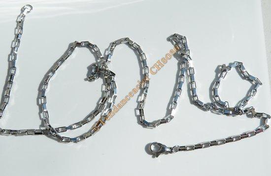 Chaine Longue Argenté 71 cm Pur Acier Inoxydable Maille Forçat 2,5 mm Maillon Rectangle
