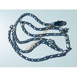 Chaine Collier 71 cm Pur Acier Inoxydable Argenté Maille Figaro 1+1 4,4 mm