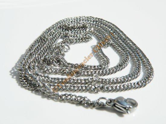 Chaine Collier Argenté 55 cm Pur Acier Inoxydable Maille 2,6 mm