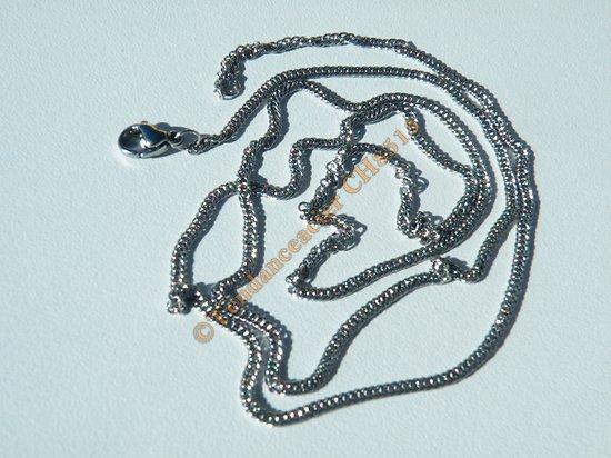 Chaine Collier Argenté 60 cm Pur Acier Inoxydable Maille 2 mm