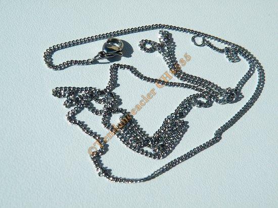 Chaine Collier Argenté  Longue 60 cm Pur Acier Inoxydable Maille 1,4 mm
