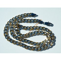 Chaine Collier 55 cm Acier Inoxydable Bicolore Argent Or Maille Gourmette 7,5 mm