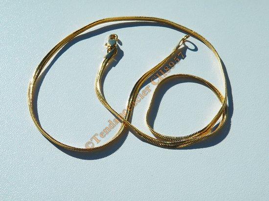 Chaine Collier Serpentine 55 cm Pur Acier Inoxydable Doré Plaqué Or Maille Serpent 3 mm