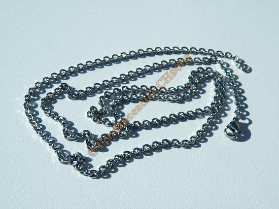Chaine Longue Argenté 60 cm Pur Acier Inoxydable Maille Forçat Jaseron 2,7 mm