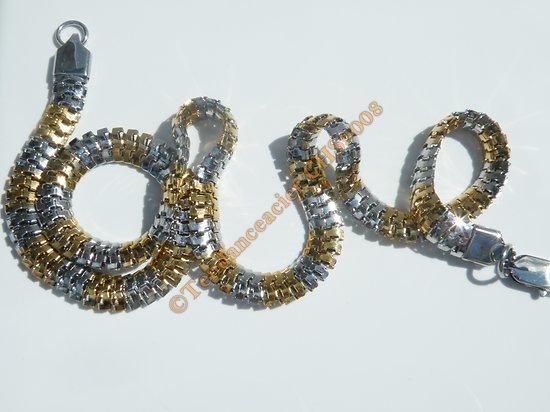 Chaine Serpentine Collier Bicolore 55 cm Argenté et Or Pur Acier Inoxydable Maille Serpent 8 mm