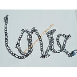 Chaine Collier Argenté 60 cm Pur Acier Inoxydable Maille Figaro 1+3 4,5 mm
