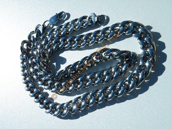 Chaine Collier Argenté brillant 60 cm Pur Acier Inoxydable Maille Gourmette 10 mm