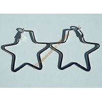 Boucles d'Oreilles Argenté Pur Acier Inoxydable Pendantes Créoles Etoile Star 62 mm
