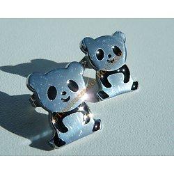 Boucles d'Oreilles Clous Panda Animal Argenté et Noir 16 mm Pur Acier Inoxydable