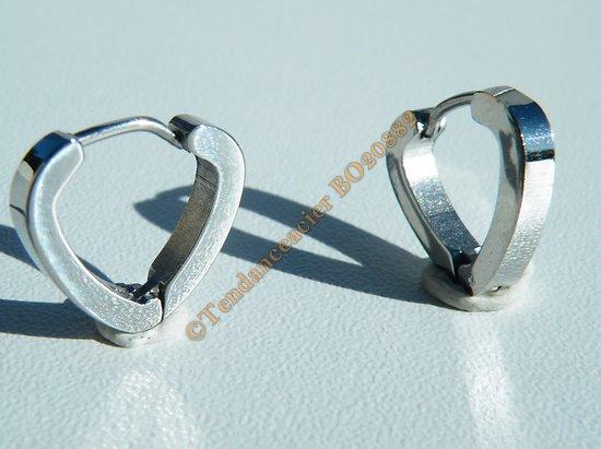 Boucles d'Oreilles Mini Créoles 14 mm Argenté Forme Coeur Acier Inoxydable Love Amour Mixte