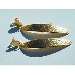 Boucles d'Oreilles Pendantes 70 mm Pur Acier Inoxydable Plaqué Or Feuillure Vintage
