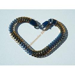 Bracelet Serpentine Bicolore 21 cm Argenté et Or Pur Acier Inoxydable Maille Serpent 8 mm