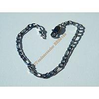 Bracelet Argenté 21 cm Pur Acier Inoxydable Maille Figaro 1+3 Largeur 4,5 mm