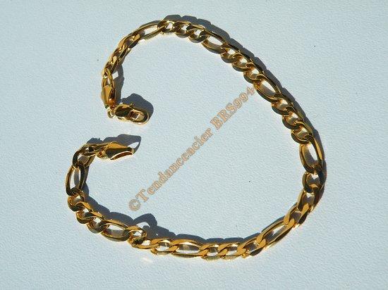 Bracelet Doré Plaqué Or 21 cm Pur Acier Inoxydable Maille Figaro 1+3 4,8 mm