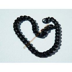 Bracelet 21 cm Pur Acier Inoxydable Black Noir Maille Gourmette 5,5 mm