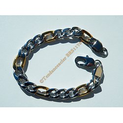 Bracelet Bicolore 22 cm Argenté et Or Pur Acier Inoxydable Maille Figaro 1+3 9 mm