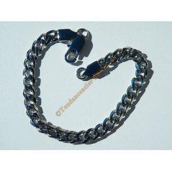 Bracelet Argenté brillant 22 cm Pur Acier Inoxydable Maille Gourmette 7 mm