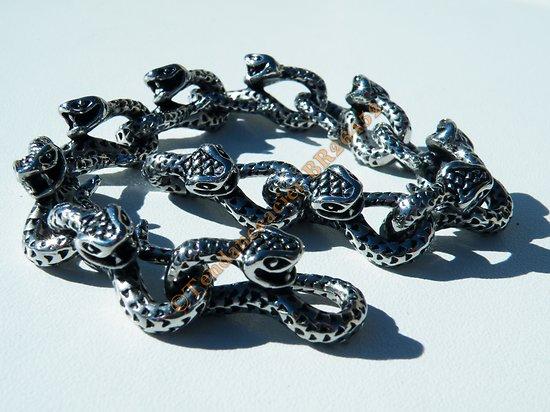 Bracelet Rare 21 cm Pur Acier Inoxydable Argent et Noir 11 Serpents Skull 12 mm