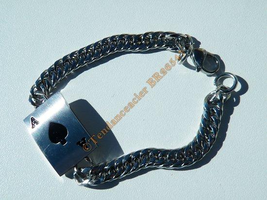 Bracelet Poker Argenté Plaque As de Pique Maillon Gourmette 7 mm Pur Acier Inoxydable