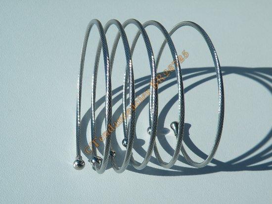 Bracelet Wire Ajustable Etirable Argenté Torsadé 6 Rangs Boules 5mm Pur Acier Inoxydable